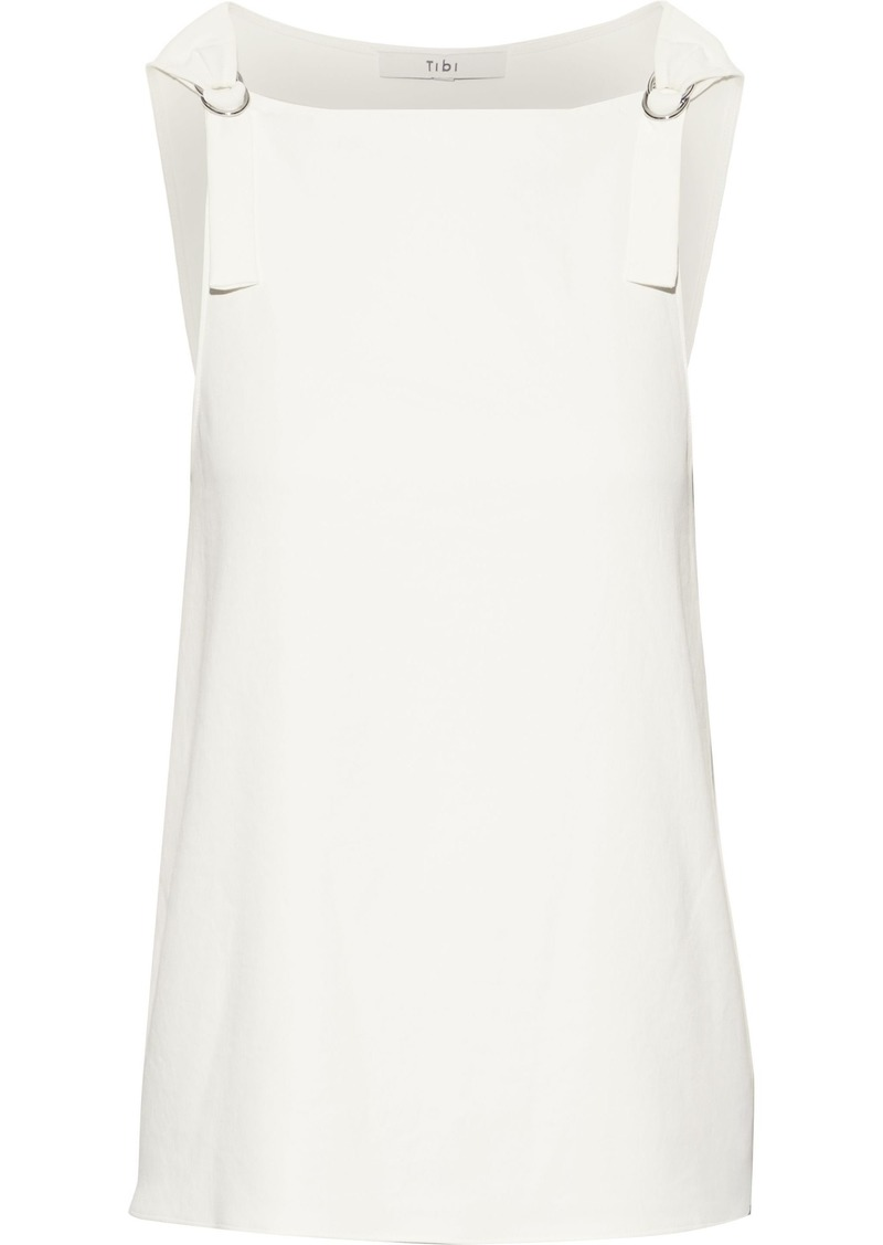 Tibi Woman Buckle-detailed Stretch-cady Top Ivory