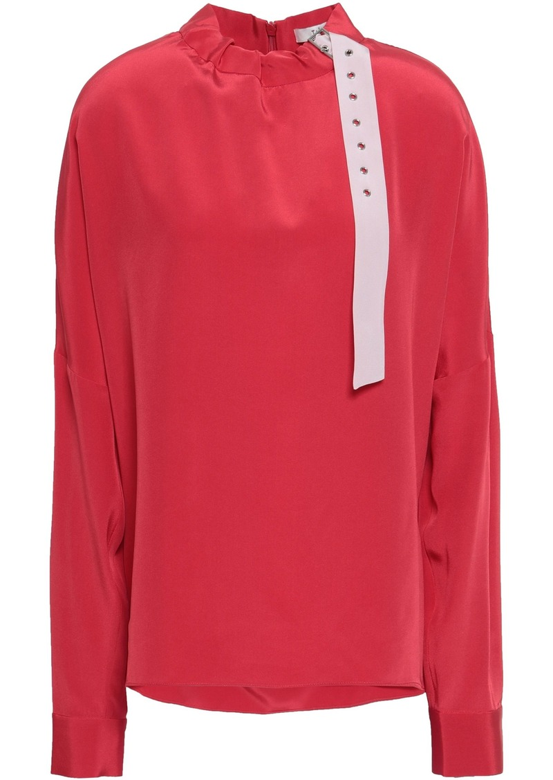 Tibi Woman Gathered Buckle-detailed Silk Crepe De Chine Blouse Red