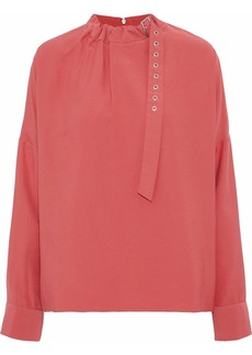 Tibi Woman Buckle-detailed Twill Blouse Coral