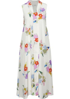 Tibi Woman Camellia Tie-neck Printed Silk Crepe De Chine Dress Ivory