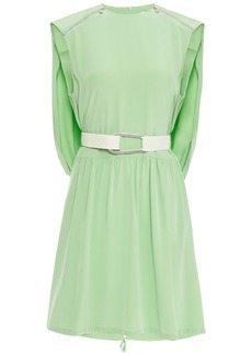 Tibi Woman Belted Gathered Silk Crepe De Chine Mini Dress Light Green