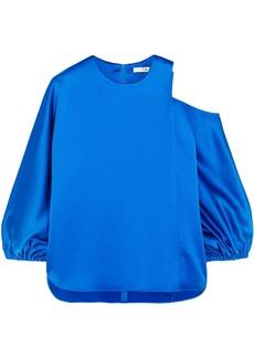 Tibi Woman Celestia Cutout Satin Top Bright Blue