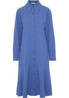 Tibi Woman Chalky Drape Fluted Twill Shirt Dress Blue