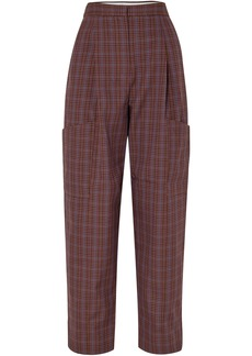 Tibi Woman Checked Woven Tapered Pants Brown
