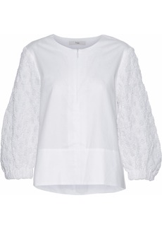 Tibi Woman Cloqué-paneled Cotton-poplin Top White