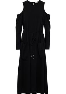 Tibi Woman Cold-shoulder Crepe Midi Dress Black