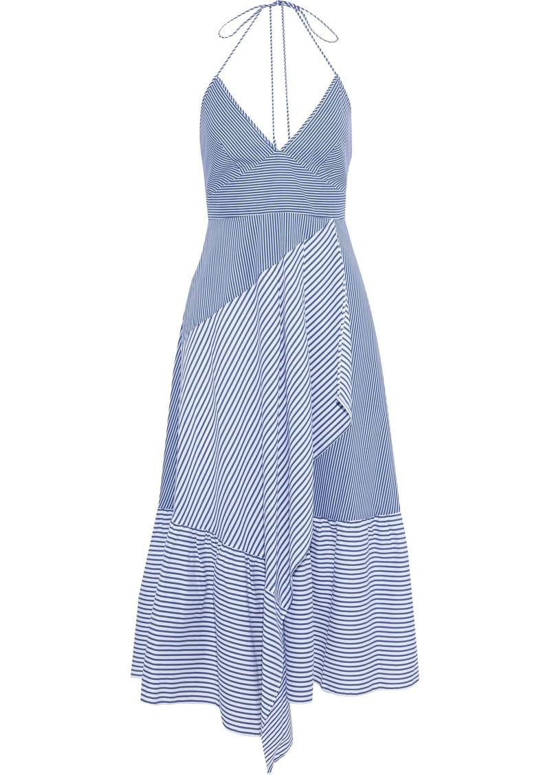 Tibi Woman Collage Striped Cotton-blend Poplin Halterneck Midi Dress Blue