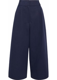 Tibi Woman Cotton And Linen-blend Twill Culottes Navy