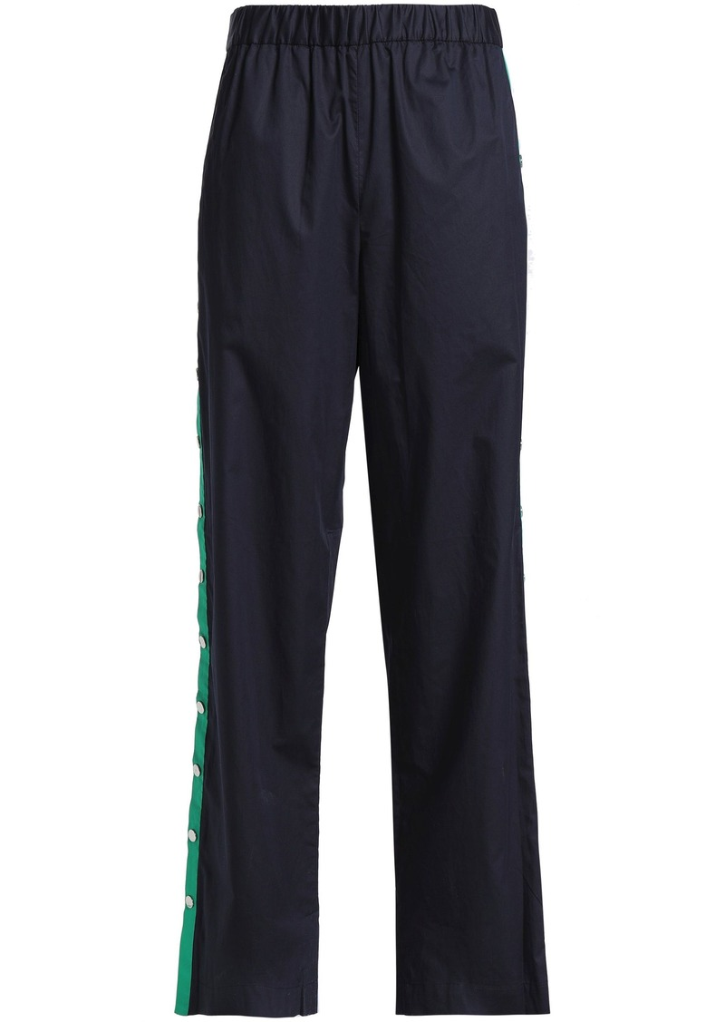 Tibi Woman Cotton-poplin Track Pants Navy