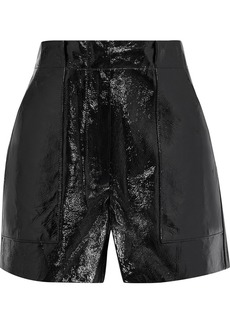 Tibi Woman Crinkled Patent-leather Shorts Black