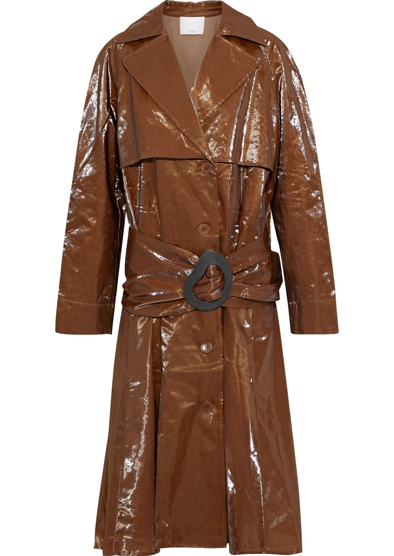 Tibi Woman Crinkled-vinyl Trench Coat Brown