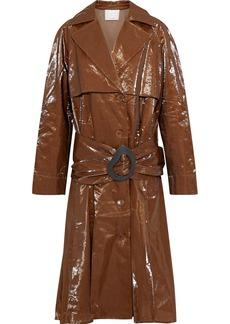 Tibi Woman Crinkled-vinyl Trench Coat Brown