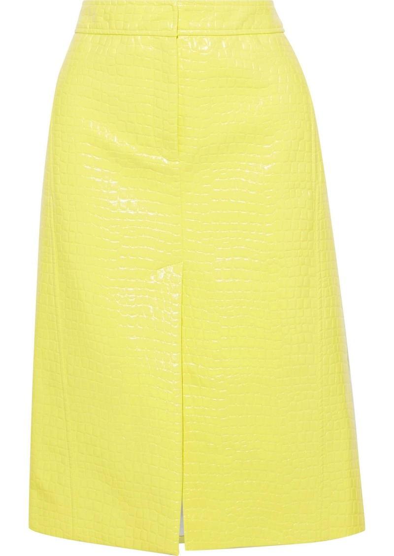 Tibi Woman Croc-effect Faux Glossed-leather Skirt Yellow