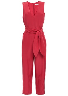 Tibi Woman Cropped Belted Silk Crepe De Chine Jumpsuit Papaya