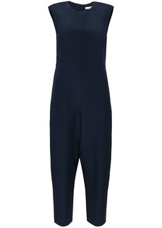 Tibi Woman Cropped Cutout Silk-crepe Jumpsuit Navy