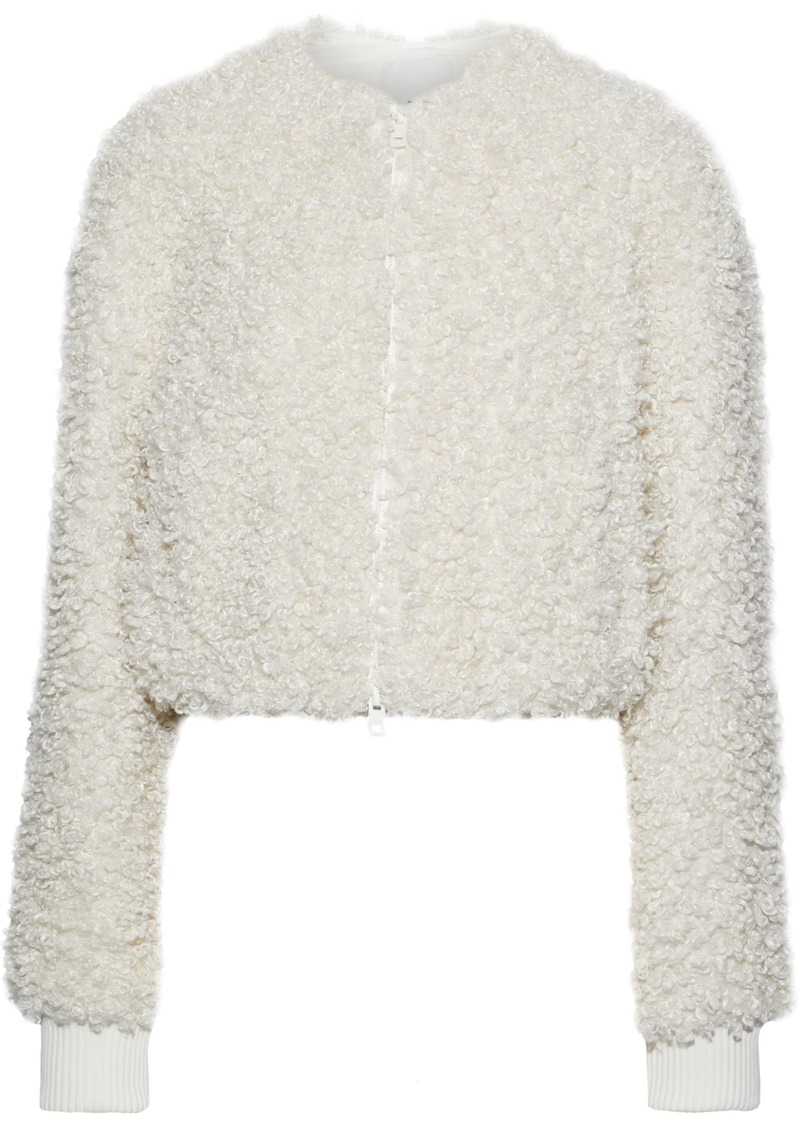 Tibi Woman Cropped Faux Shearling Jacket Ivory