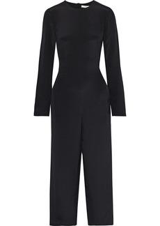 Tibi Woman Cropped Fringed Silk Crepe De Chine Jumpsuit Black