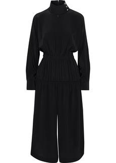 Tibi Woman Cropped Gathered Silk Crepe De Chine Jumpsuit Black