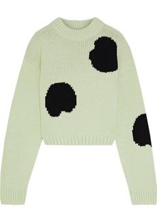Tibi Woman Cropped Intarsia Wool-blend Sweater Light Green
