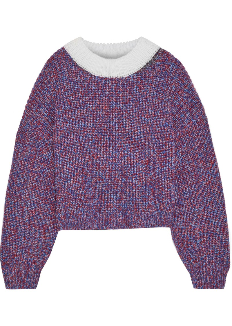 Tibi Woman Cropped Marled Merino Wool Sweater Blue