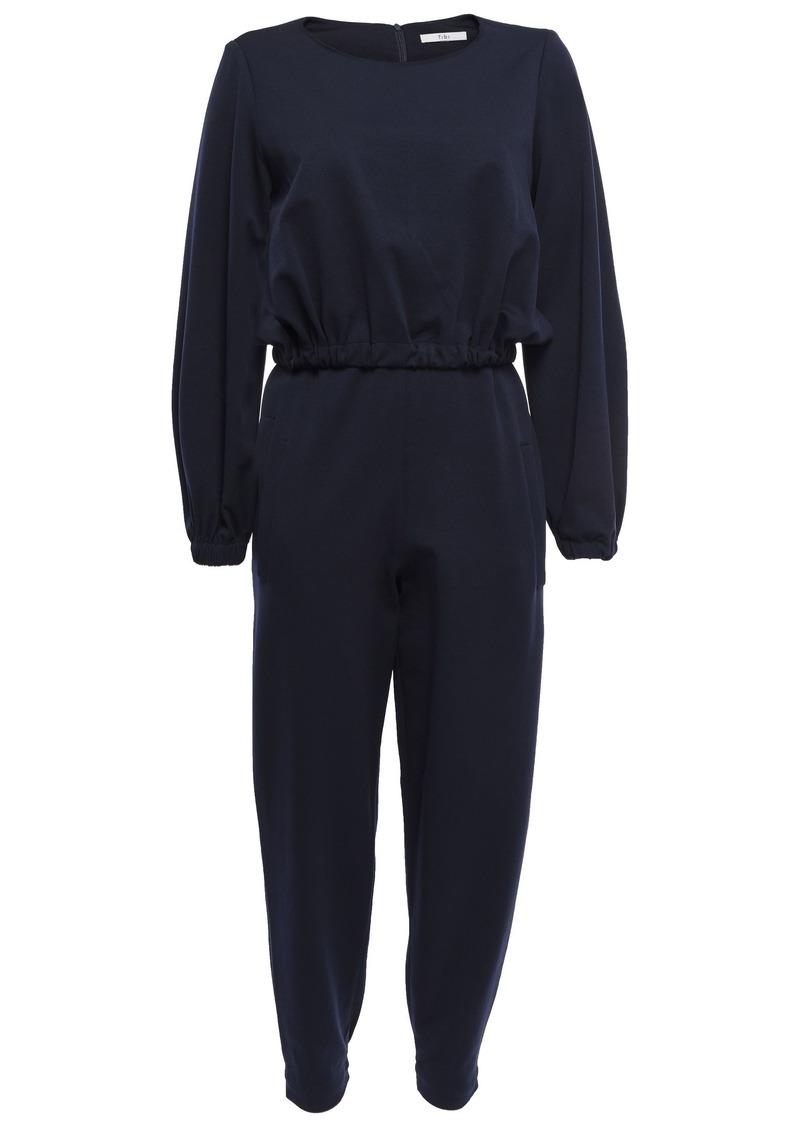 Tibi Woman Cropped Piqué Jumpsuit Navy