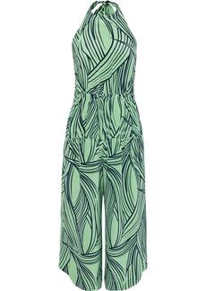 Tibi Woman Cropped Printed Silk Halterneck Jumpsuit Light Green