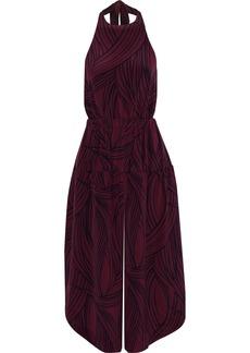Tibi Woman Cropped Printed Silk Halterneck Jumpsuit Plum