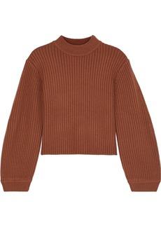 Tibi Woman Cropped Ribbed Merino Wool Sweater Camel