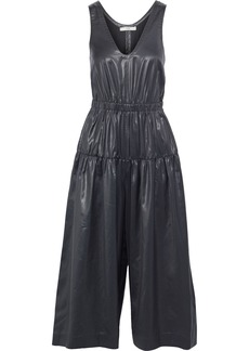 Tibi Woman Cropped Ruched Coated-shell Wide-leg Jumpsuit Black