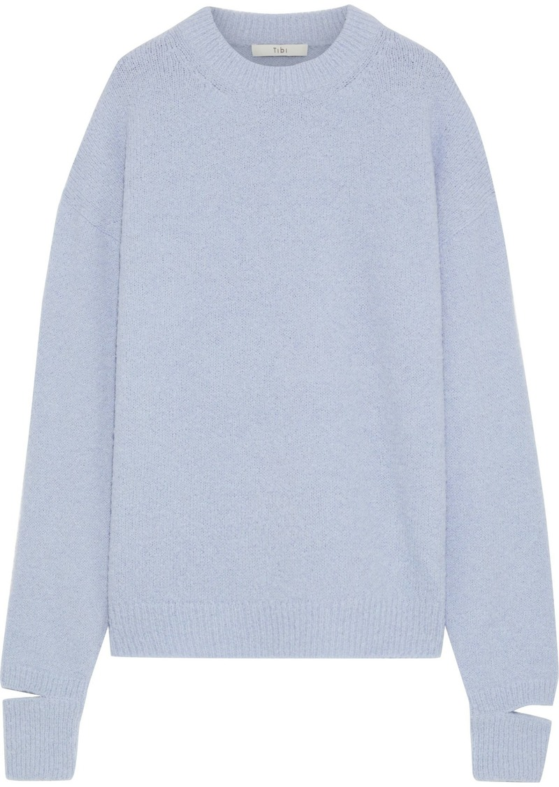 Tibi Woman Cutout Alpaca-blend Sweater Light Blue