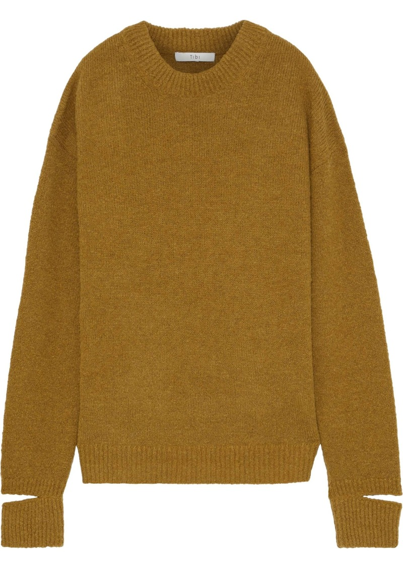 Tibi Woman Cutout Alpaca-blend Sweater Mustard