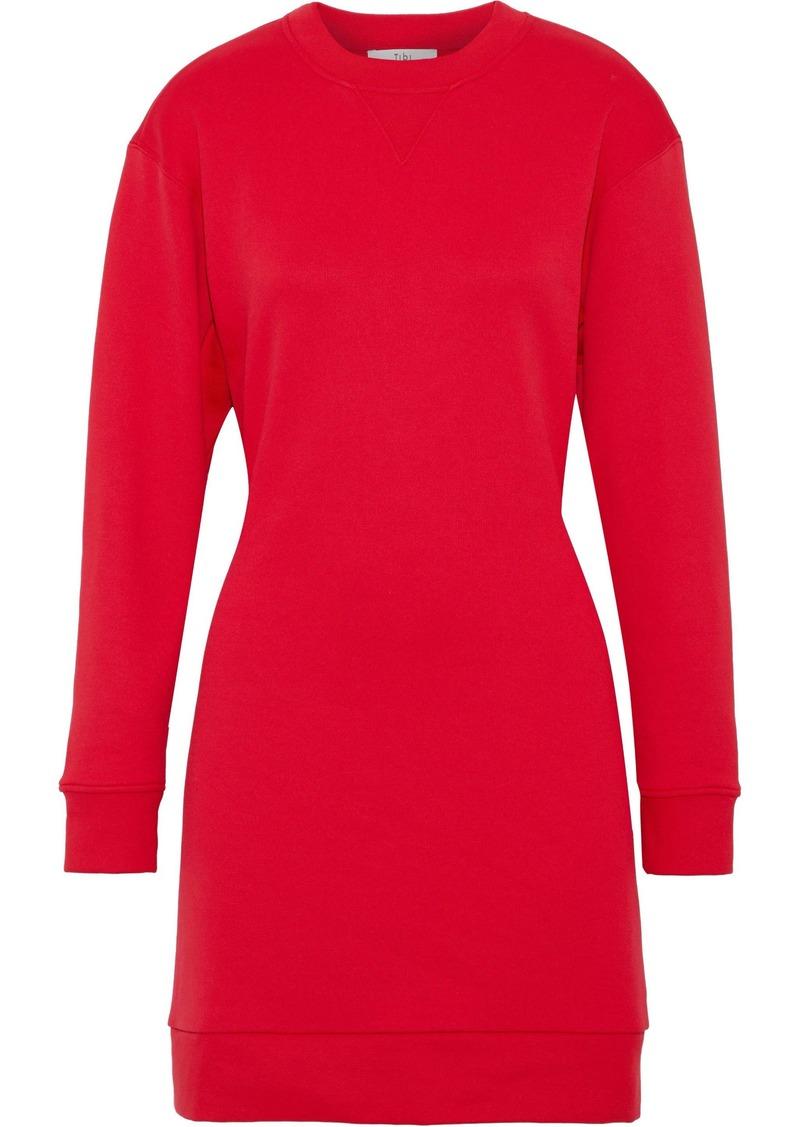 Tibi Woman Cutout French Cotton-terry Mini Dress Red