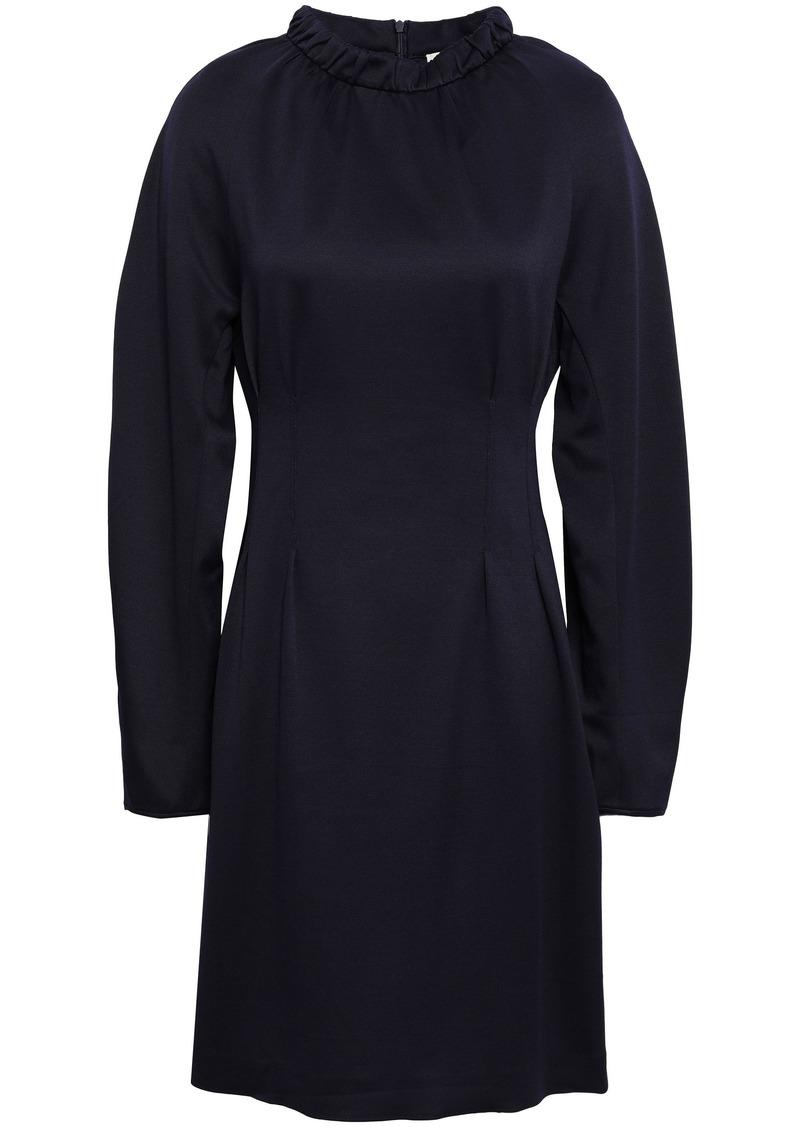 Tibi Woman Cutout Gathered Stretch-piqué Mini Dress Midnight Blue