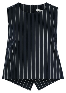 Tibi Woman Cutout Pinstriped Cotton-poplin Top Navy
