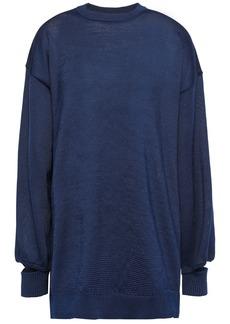 Tibi Woman Cutout Stretch-knit Sweater Navy