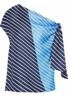 Tibi Woman Delphina One-shoulder Striped Silk Satin-twill Top Blue