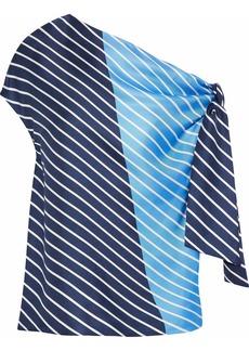 Tibi Woman Delphina One-shoulder Striped Silk Satin-twill Top Blue