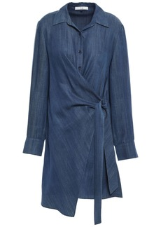 Tibi Woman Denim Mini Wrap Dress Navy