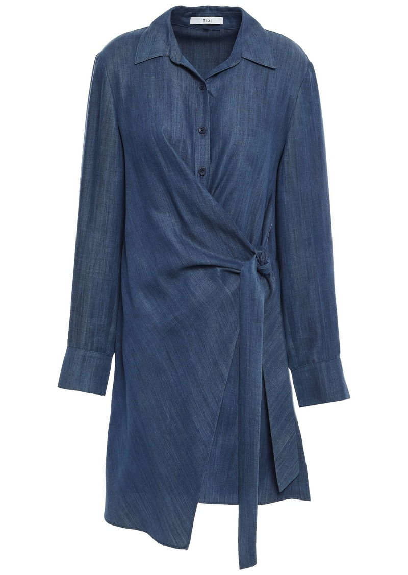 Tibi Woman Denim Mini Wrap Dress Navy