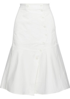 Tibi Woman Dominic Fluted Stretch-cotton Twill Skirt White