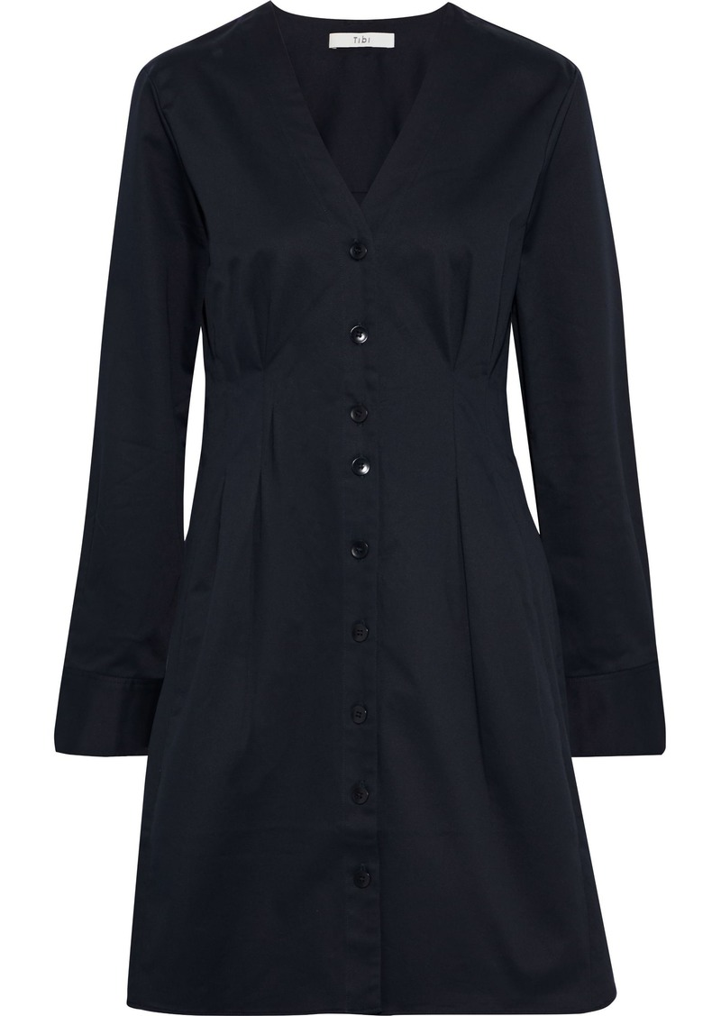 Tibi Woman Dominic Pleated Stretch-cotton Twill Mini Dress Midnight Blue