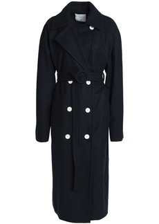 Tibi Woman Double-breasted Belted Felt Coat Navy