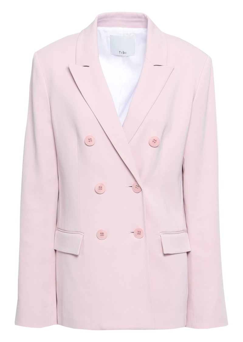 Tibi Woman Steward Double-breasted Stretch-crepe Blazer Lilac