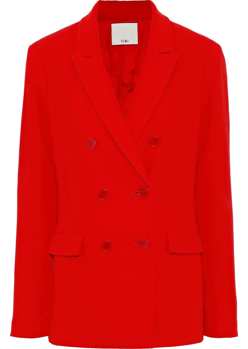 Tibi Woman Double-breasted Crepe Blazer Red