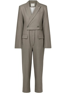 Tibi Woman Double-breasted Wool Jumpsuit Taupe