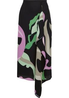 Tibi Woman Draped Printed Crepe Midi Skirt Black