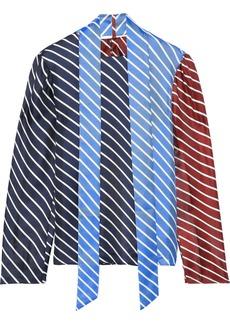 Tibi Woman Draped Striped Color-block Silk-twill Top Navy