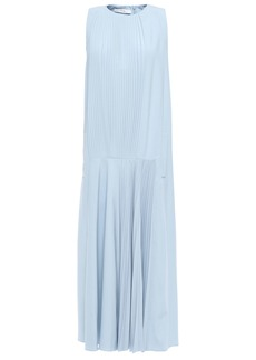 Tibi Woman Edith Tie-back Pleated Stretch-crepe Midi Dress Sky Blue