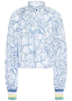 Tibi Woman Edwardian Floral-print Crepe De Chine Blouse Light Blue