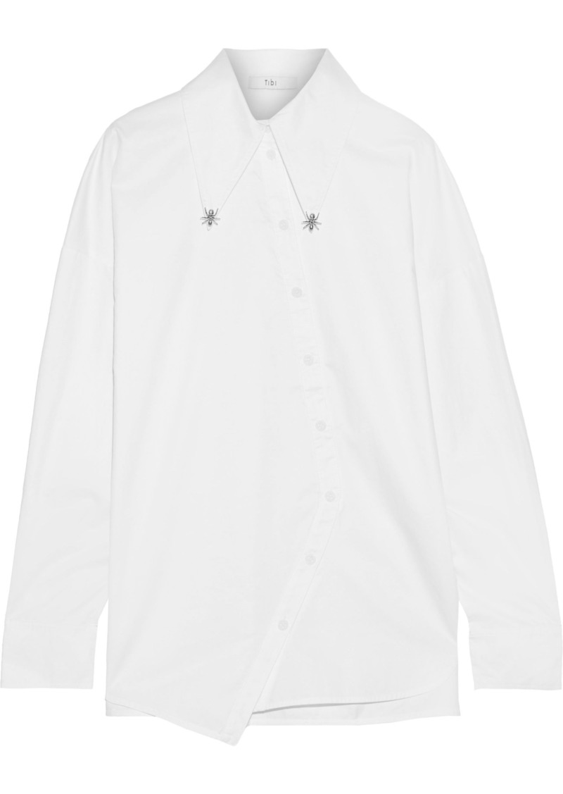Tibi Woman Embellished Cotton-poplin Shirt White